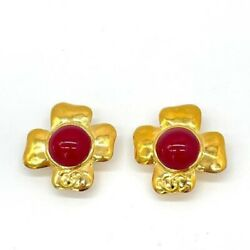 97p Vintage Earrings Gripoa Glass Red Gold 3.8cm 100 Authentic Jp I18826