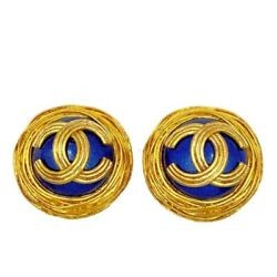 Coco Mark Vintage Earrings Gold Blue Metal 3.0cm 100 Authentic Jp I18829