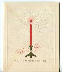 Vintage Christmas Embossed Red Tree Candle Seasonand039s Thank You Art Greeting Card