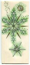 Vintage Christmas White Gold Green Snowflakes Stars Embossed Mid Century Card