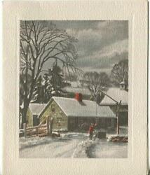 Vintage Christmas Victorian Farm House Snow Pond Water Well Bucket Greeting Card