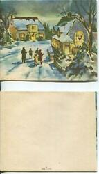 Vintage Christmas Americana Colonial Houses Snow Eve Carolers Sing Greeting Card