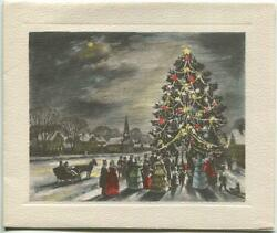 Vintage Christmas Victorian Tree Lighting Candles Town Village Art Greeting Card