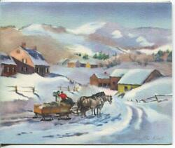 Vintage Christmas Garrison Colonial House Sleigh Draft Horse Mail Greeting Card