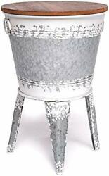 Farmhouse Accent Side Table - Galvanized Rustic End Table. White Distressed