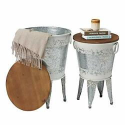 Rustic Storage Farmhouse Accent Side Table, Antique 2 Distressed White