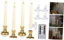 Flameless Taper Candles Flickering With Remote And Ivory With Gold Candlestick