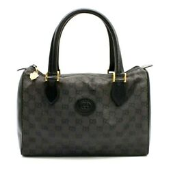 【Rank B】 Authentic Gucci GG Canvas Boston Hand Bag Black Leather Vintage Italy