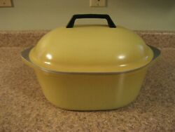 Vintage Large Oval Club Aluminum Harvest Gold Yellow Roaster Dutch Oven With Lid