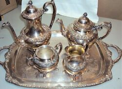 Rogers Brothers 1847 5 Pc Heritage Silver Coffee And Tea Set Sugar Creamer And Tray