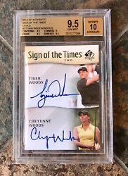 Tiger Woods 2014 Sp Authentic Sign Of The Times Dual Cheyenne Bgs 9.5 Auto 10