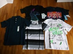New Boy 10-12 Lot Of 5 Tops T-shirt Polo Shirt Graphic Fortnite Solid Stripes