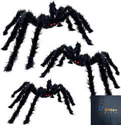 Turnmeon 3 Pack Halloween Hairy Spiders Decorations Set With Different Sizes Red