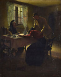 Wwi Era English Genre Painting Soldier Consoling Grieving Widow Signed Skeats