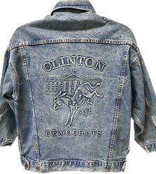 Rare Vintage Bill Clinton Democrats And03992 Presidential Election Jean Jacket Size M