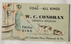 1920s Antique W.c.conoran Pittsburgh Pa Ink Blotter Paper Ad Business Card