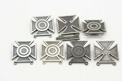 Wwii Sterling Army Pistol Marksman And Sharpshooter Badges Lot Of 7 - Weigh 2.2 Oz