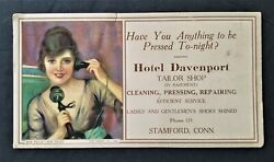1920s Hotel Davenport Tailor Shop Stamford Ct Ink Blotter Paper Shoes Shined Ar