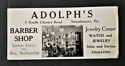 Antique Adolph's Barber Shop Jewelry Corner Swarthmore Pa Ink Blotter Paper Ad