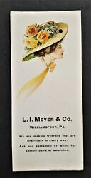 Antique L I Meyer And Co Williamsport Pa Overall Mfg Advertising Ink Blotter Paper