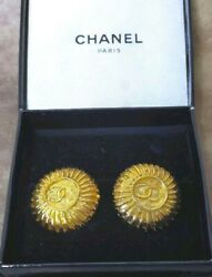 Earrings Gold Coco Logo Mark Clip Type 2.5cm With Box Authentic Jp I18931