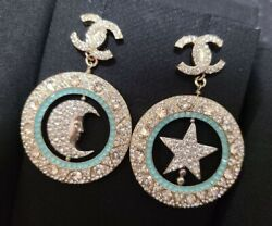 Moon And Star Earrings 4cm Gold Green With Box Vintage Authentic I18937