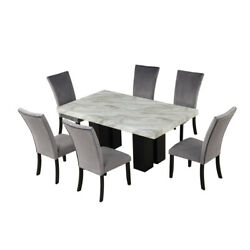 7-piece Faux Marble Kitchen Dining Table And 6 Velvet Chairs Set For 6 Us Stock