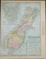 Vintage 1902 New Zealand South Map 11x14 Old Antique Original Greymouth