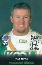 Former Indy 500 Driver Paul Tracy 1998 Photo Card- Team Kool Green-klein Tools
