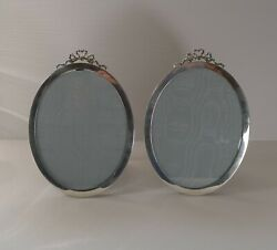 Pair Antique English Sterling Silver Bow Picture Frames - 1915
