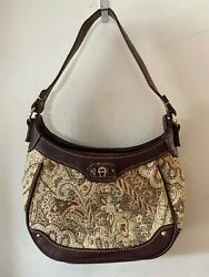 ETIENNE AIGNER EUC Tapestry and Brown Leather Trim Small Shoulder Bag Purse