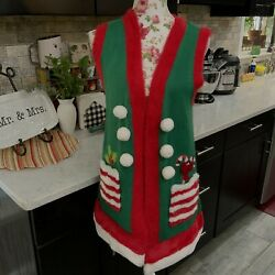 Holiday Time Candycane Faux Fur Pompom Christmas Sweater Vest Womens Small 4-6