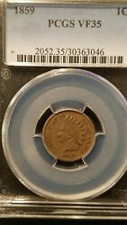 1859 Indian Head Cent Pcgs Vf35 One Year Type Coin Copper-nickel