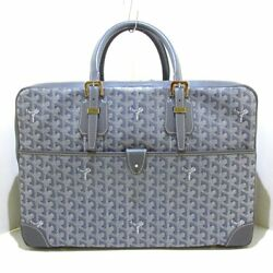 Auth Goyard Ambassador 24h Gray Coated Canvas And Leather Business Bag