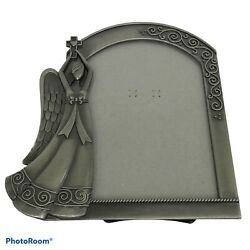 Fetco Home Decor Brushed 3.5quot;x5quot; Silver Toned Pewter Angel Arch Picture Frame