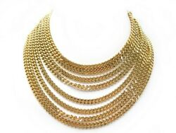 Neuf Collier Chaines 8 Rangs Metal Dore 40 Cm Boite Gold Chain Necklace