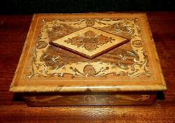 Very Old Italian Made Music And Jewelry Box, Torna A Surriento Marquetry Inlay.