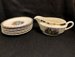 Lovely Vintage Cronlin Co. Colonial Couple China Plate Set And Creamer