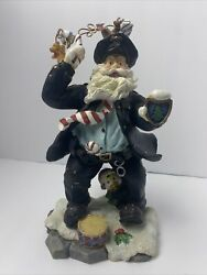 Christmas Police Santa Figurine Very Detailed With Duck At Bottom Holding Candyn
