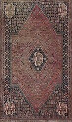 Antique Geometric Tribal Abadeh Area Rug Hand-knotted Evenly Low Pile Carpet 6x9
