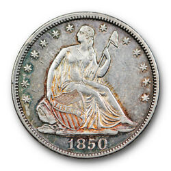 1850 Seated Liberty Half Dollar About Uncirculated Au Toned Key Date