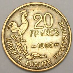 1950 France French 20 Francs Rooster Coin Vf+ Tone