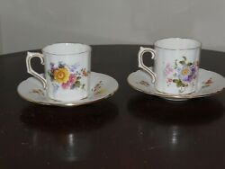 Royal Crown Derby Derby Posies English Bone China Tea Cup And Saucer Set Of 2