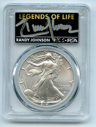 2021 1 Silver Eagle T2 First Production Pcgs Ms70 Legends Of Life Randy Johnson