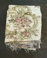 Sewing Fabric Tapestry Upholstery Woven 3 Remnant Pieces Beige Pink Green Roses