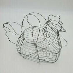 Silver Metal Wire Chicken Egg Basket W Handles Farmhouse Country Cottage Decor