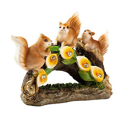 Outdoor Resin Squirrel Statue Waterproof Solar Led Lights For Yard Ornament