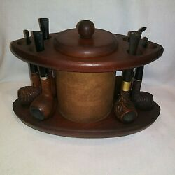 Vintage Tobacco Humidor W 6 Pipe Stand Holder Display + Pipe Rack And Pipes