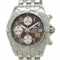 Breitling Chrono Cockpit A13358 Automatic Roman Indices Brown Dial Stainless Men