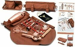 Travel Bartender Kit With Bag | 17-piece Copper Bar Tool Set And Portable Bar